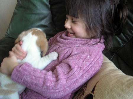 Alice with a puppy